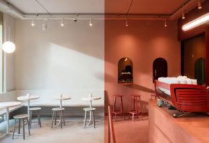 Двуцветное кафе BuddyBuddy в Брюсселе