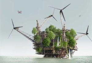 Превратить нефтяные платформы в зеленые острова с домами будущего предлагает XTU architects
