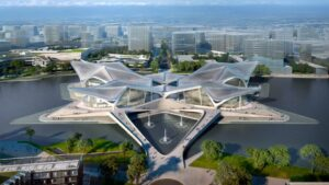 Четырехкрылый культурный центр в Чжухае от Zaha Hadid Architects